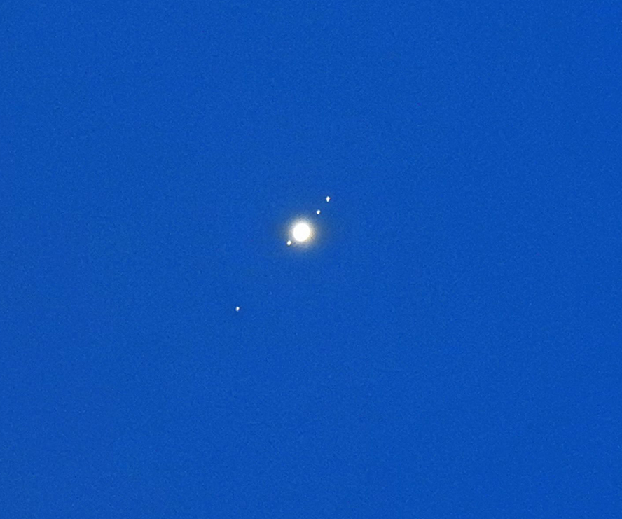 Jupiter and its moons Jupiter moons from bottom left to top right: Callisto, Ganymede, Io, and Europa. Click here to learn how to see Jupiter's moons. This photo was taken in Wisconsin on May 27, 2018 by Suzanne Murphy Photography. Courtesy EarthSky.org