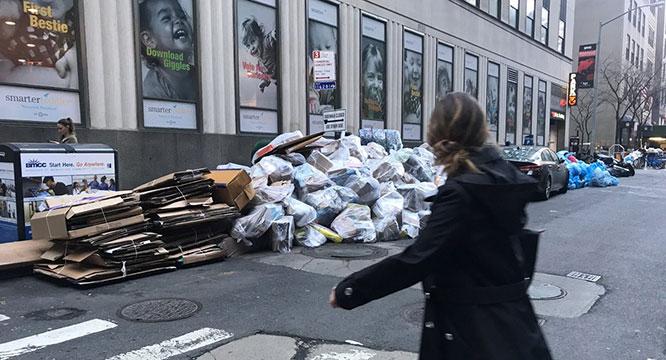 The accumulation of street trash throughout Lower Manhattan