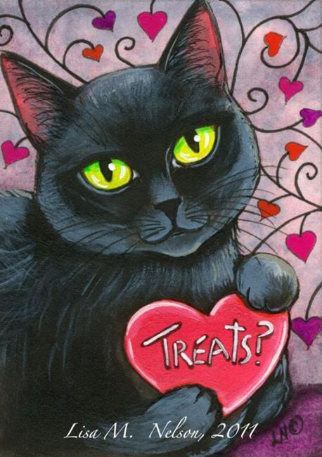 Art: Got Treats Black Cat Valentine ACEO by Artist Lisa Monica Nelson