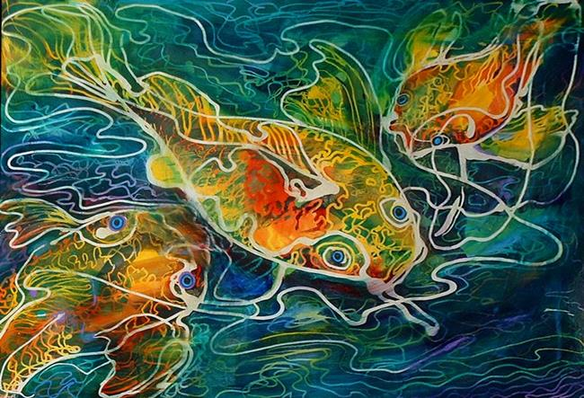 This art BATIK KOI 01 by artist Marcia Baldwin