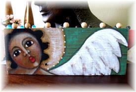 Art: Folk Art Angel Painting on Wood E by Cyra Cancel