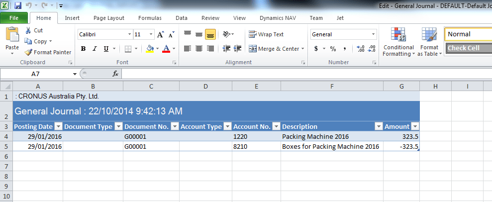 Excel journals and Microsoft Dynamics NAV Image 9