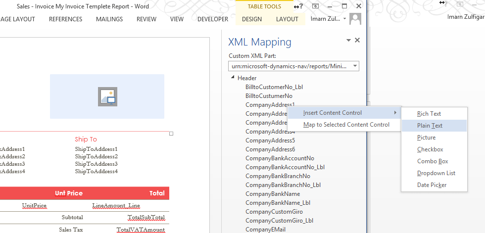 convert word layout to Dynamics NAV 2015 reports im6