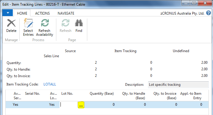 Lot tracking in MS Dyn NAV im6
