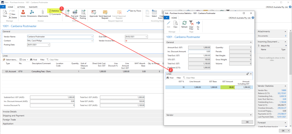 Modifying the GST amount in MS NAV 365