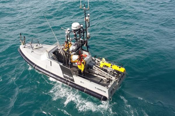 ECA Group Inspector 90 unmanned surface vehicle (USV) equipped with a SeaScan Remotely Operated Vehicle (ROV). Photo Credit: ECA Group.