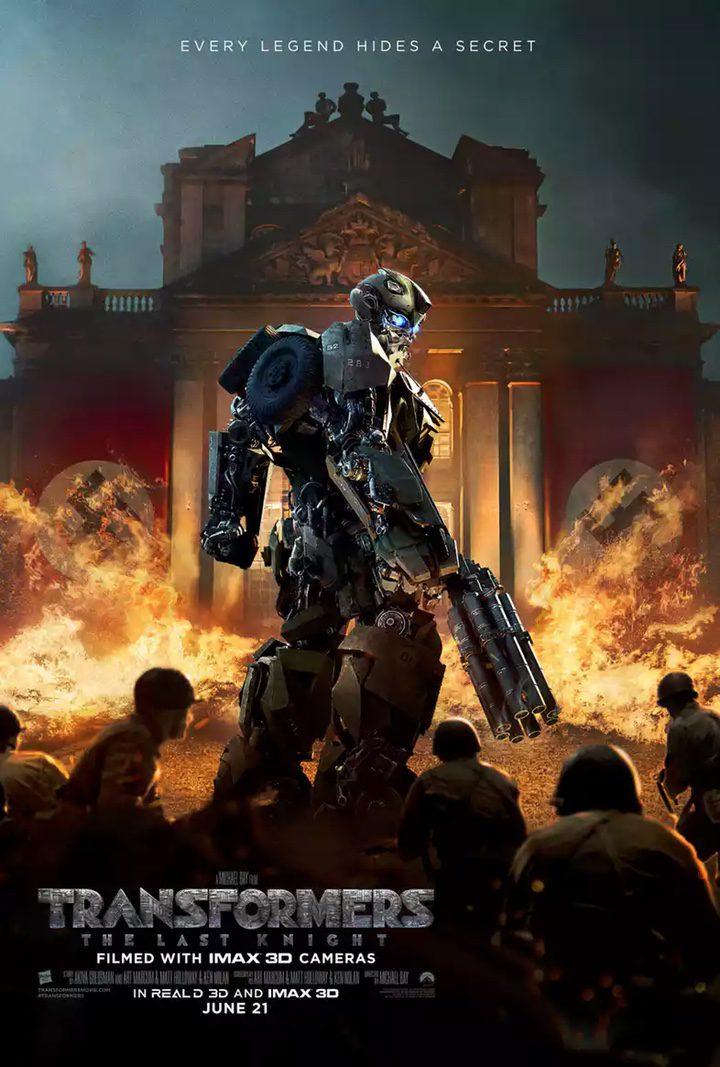 nuevo póster Transformers: el último caballero con Bumblebee contra los nazis