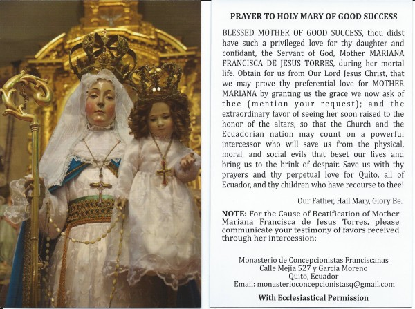 OLGS prayer card
