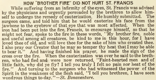 How 'Brother Fire' Did Not Hurt St. Francis - October 1916