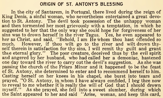 Origin of St. Anthony's Blessing - June 1916