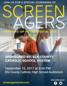 "Reminder: ""Screenagers"" to be shown Wednesday, September 13"