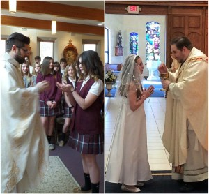 Seventh graders receive sacrament of First Communion