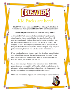 Last chance to order your Crusader Kid Pack for the upcoming school year!