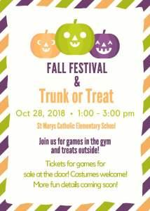 Fall Festival & Trunk or Treat – Sunday, October 28