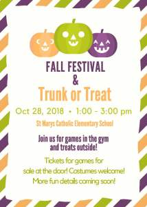 Fall Festival & Trunk or Treat – Sunday, October 28