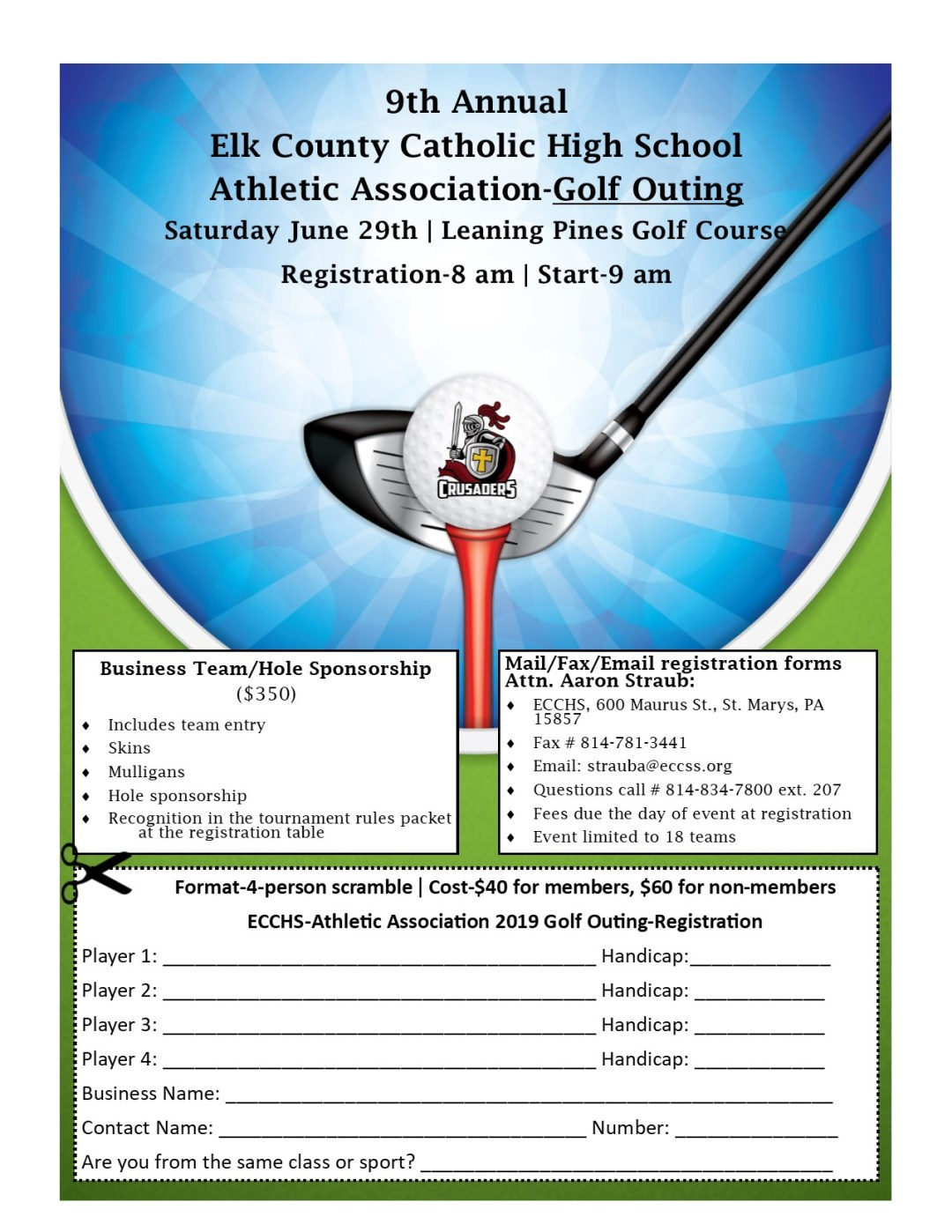 9th Annual-ECCHS Athletic Association Golf Outing