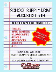 St. Marys Chevy School Supply Drive