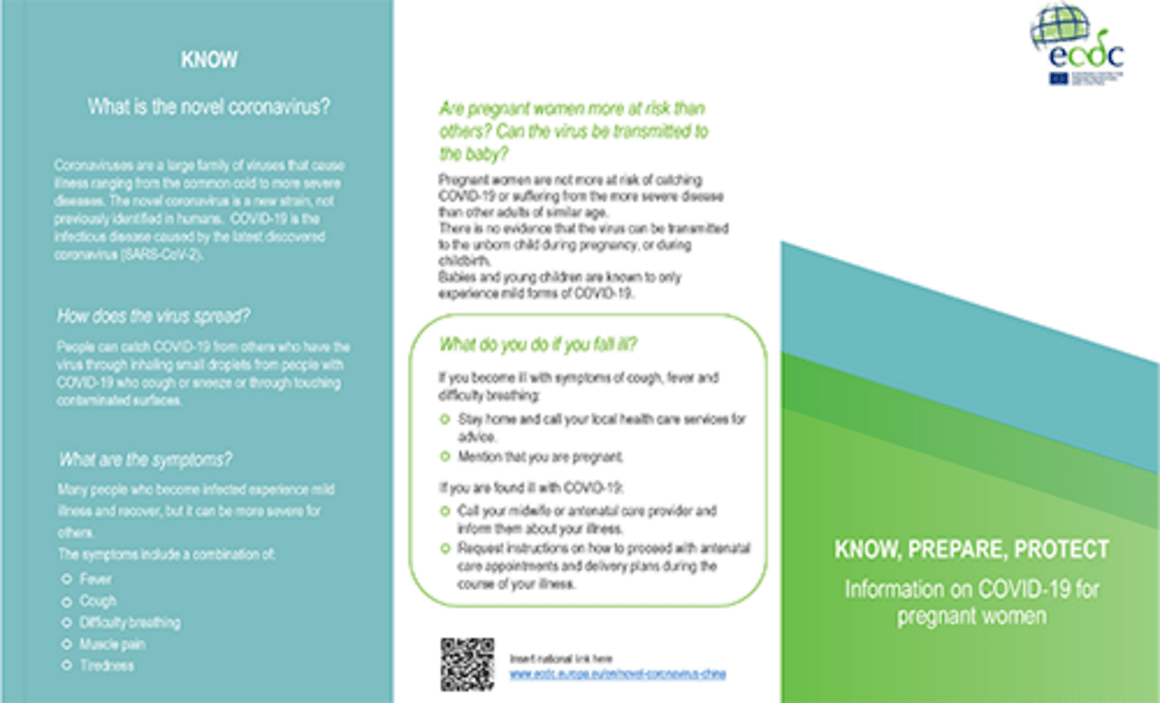 Leaflet: information on COVID-19 for pregnant women