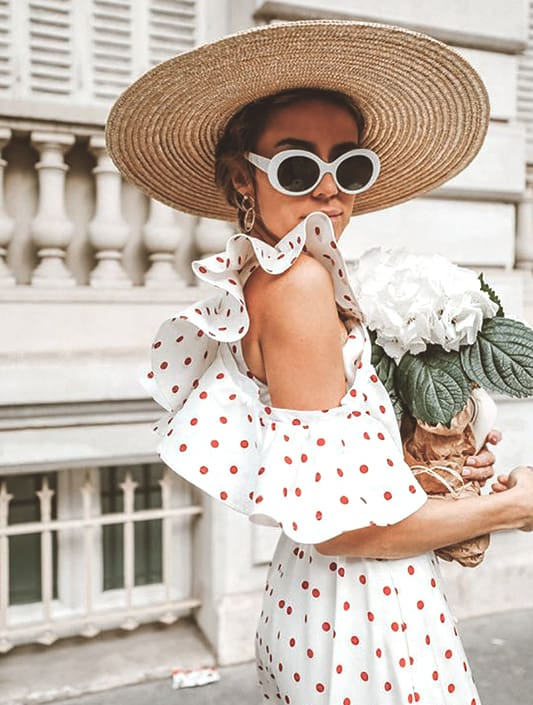 straw hat dot dress