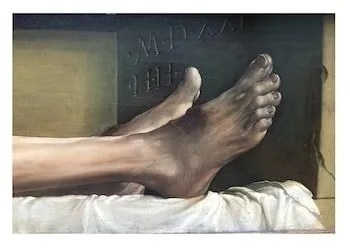 Jesus feet after crucifixion