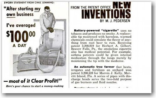 Image showing a short article on the original patent application.