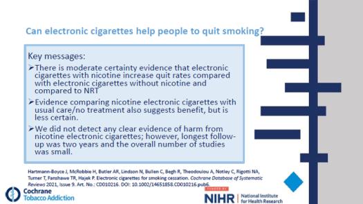 Cochrane Library E-cigarette Update facts