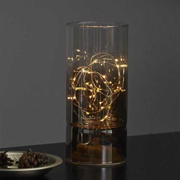 lampe deco lumineuse verre fume 20cm