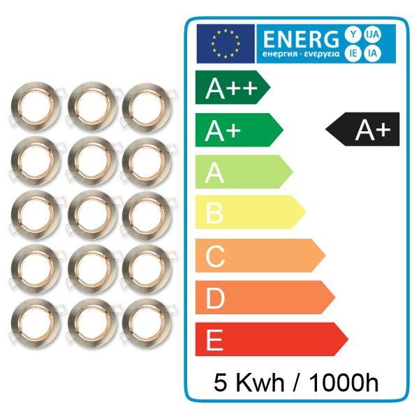 Lot De 15 Spot Led Encastrable Complet Orientable Acier Brosse Avec Ampoule Gu10 230v 5w Eclairage Design