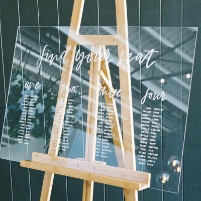 tableau de mariage plexiglas