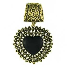 Bijou de foulard Coeur noir