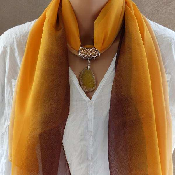 Bijou foulard Pierre naturelle ocre