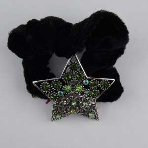 Chouchou velours bijou strass Star