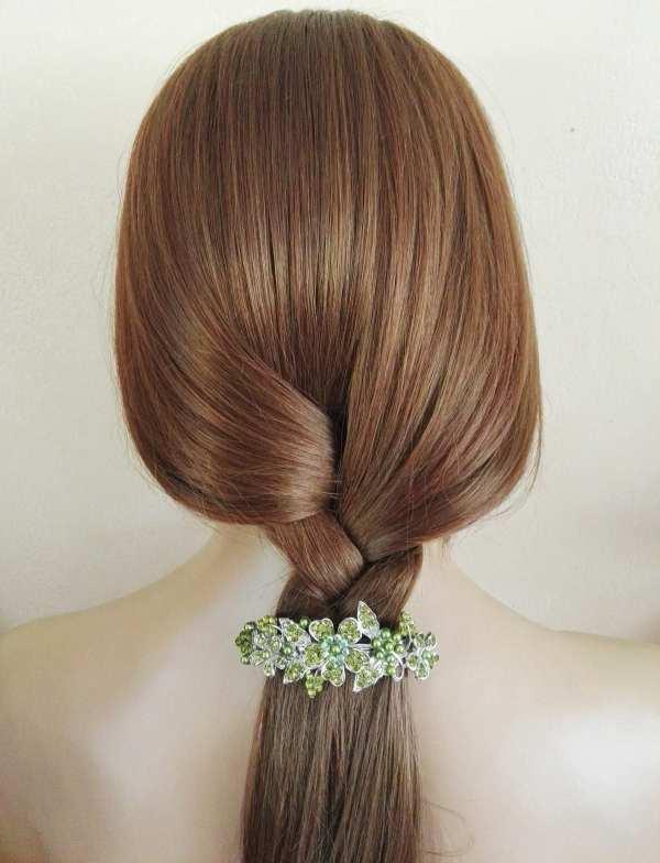 Grande barrette à cheveux argenté Aiko