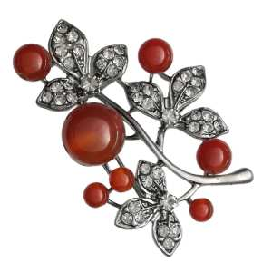 Broche Eglantine Strass en Cristal et Perles