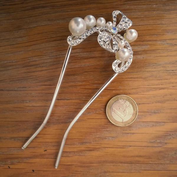 Epingle à chignon perles et strass Noeud