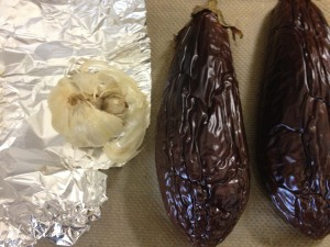 Roasting the garlic with the eggplants gives it a rich, mild, buttery flavor.