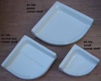 Ceramic Corner Shelves for Showers and Tubs