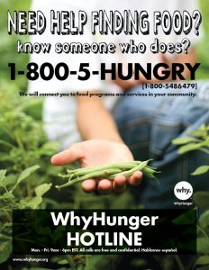are you hungry find food here WhyHunger Hotline