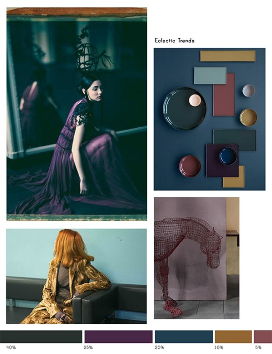 Color inspiration No.10-Pine, Velvet Purple, Bosporus, Amber, Grape-Eclectic Trends