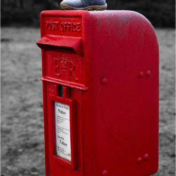 The missing shoe, Red post box, Letter box, Post box, Red letter box, product photography, Post office box, ER Mail