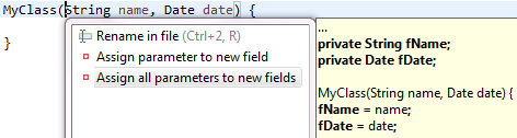 Assign all parameters to new fields