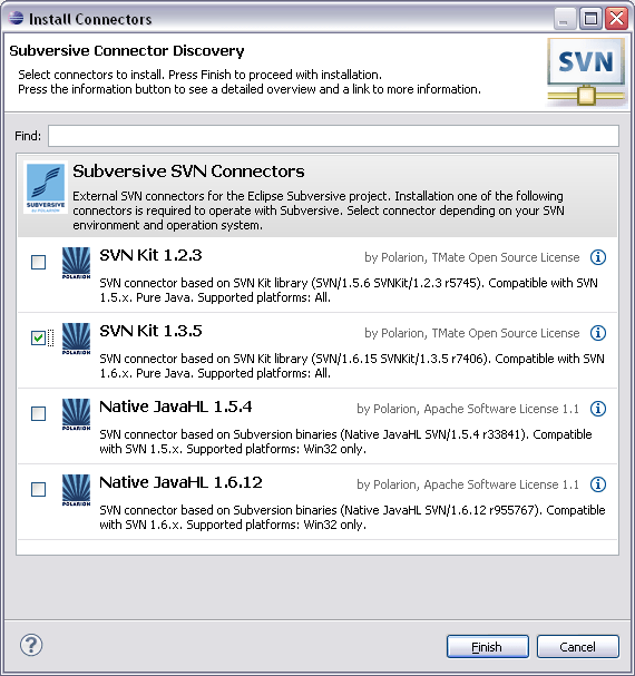 Connectors discovery dialog