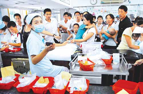 A transfusion room for pediatric outpatients in Zhejiang Province. (File photo)