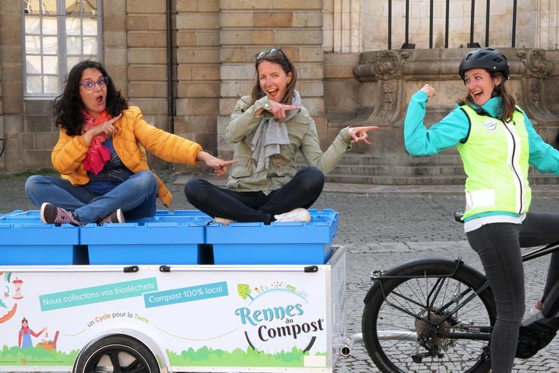 Rennes. Elles collectent les déchets alimentaires en vélo pour en faire du compost