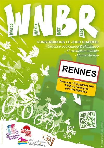Rennes (35), World Naked Bike Ride ou cylclonudista