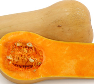 organic butternut cut in half