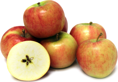 layer of organic topaz apples with one apple cut