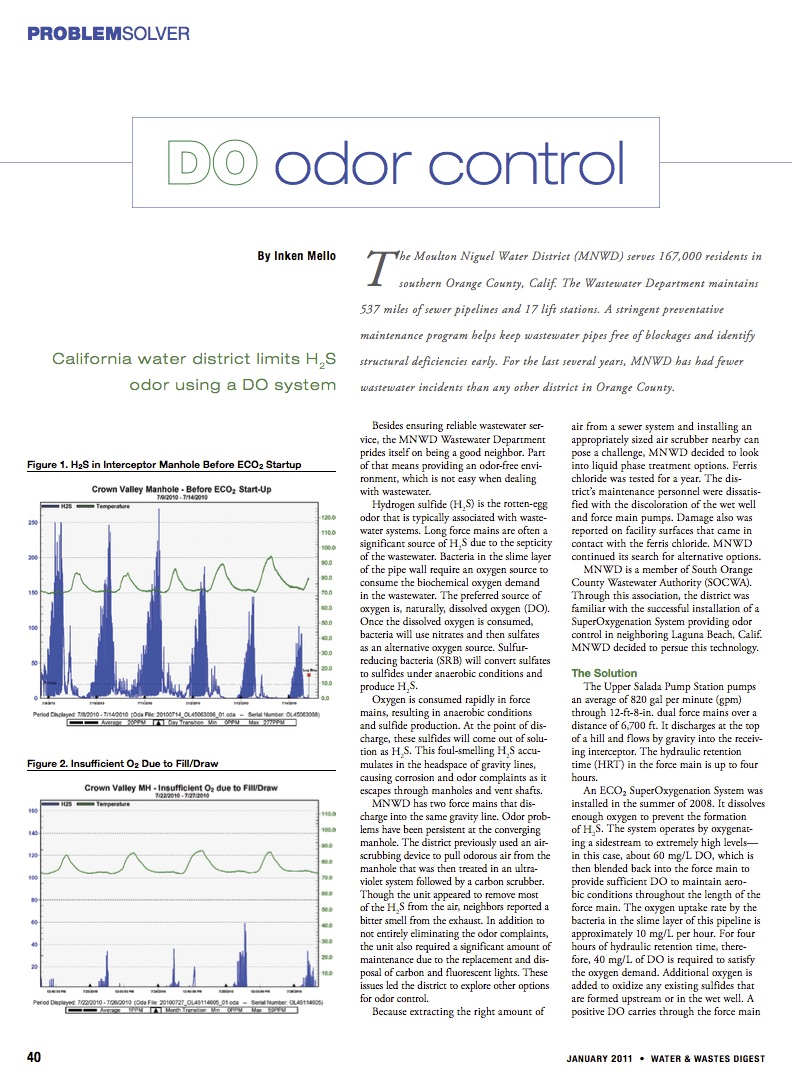 Water and Waste Digest: D.O. Odor Control