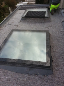 The first layer of the green roof, a fleece to protect the waterproofing and retain some of the water.