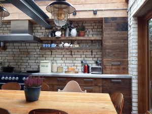 Reclaimed wood and bricks in kitchen